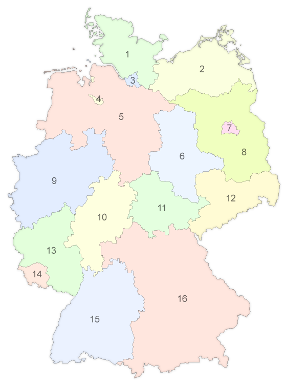 Map Of Germany Quiz.Multiple Choice Quiz Do You Know The States Of Germany