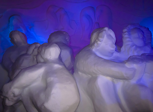 Illuminated snow sculptures