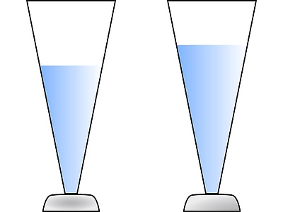 Which of the two glasses is half full? The left or the right one?