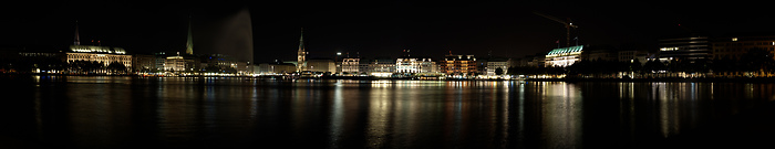 Beautiful HDR view on the Alster Lake in Hamburg at night